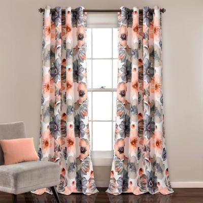 Leah 84 in. x 52 in. 100% Polyester Window Panels in Coral