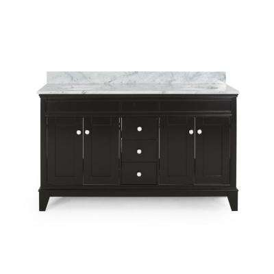 Finlee 60 in. W x 22 in. D Bath Vanity with Carrara Marble Vanity Top in Brown with White Basin