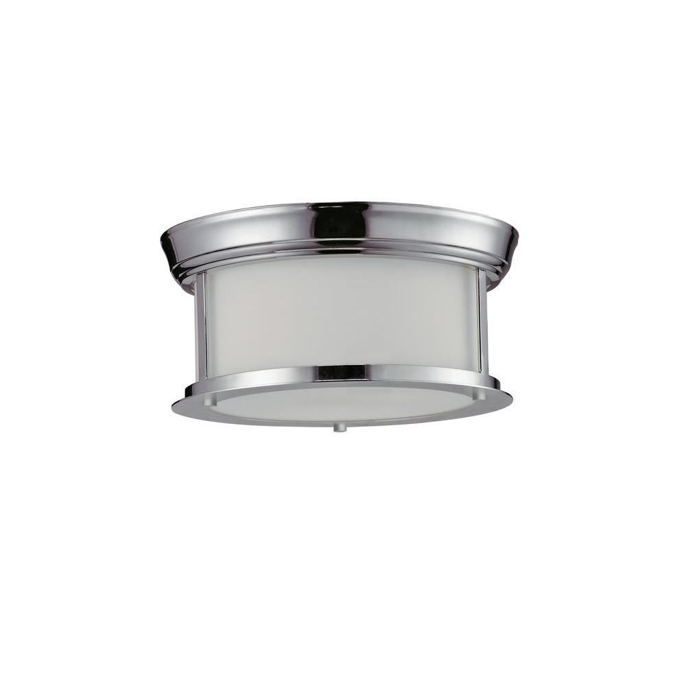 Perry 2-Light Chrome Steel Nautical Flush Mount with Matte Opal Glass