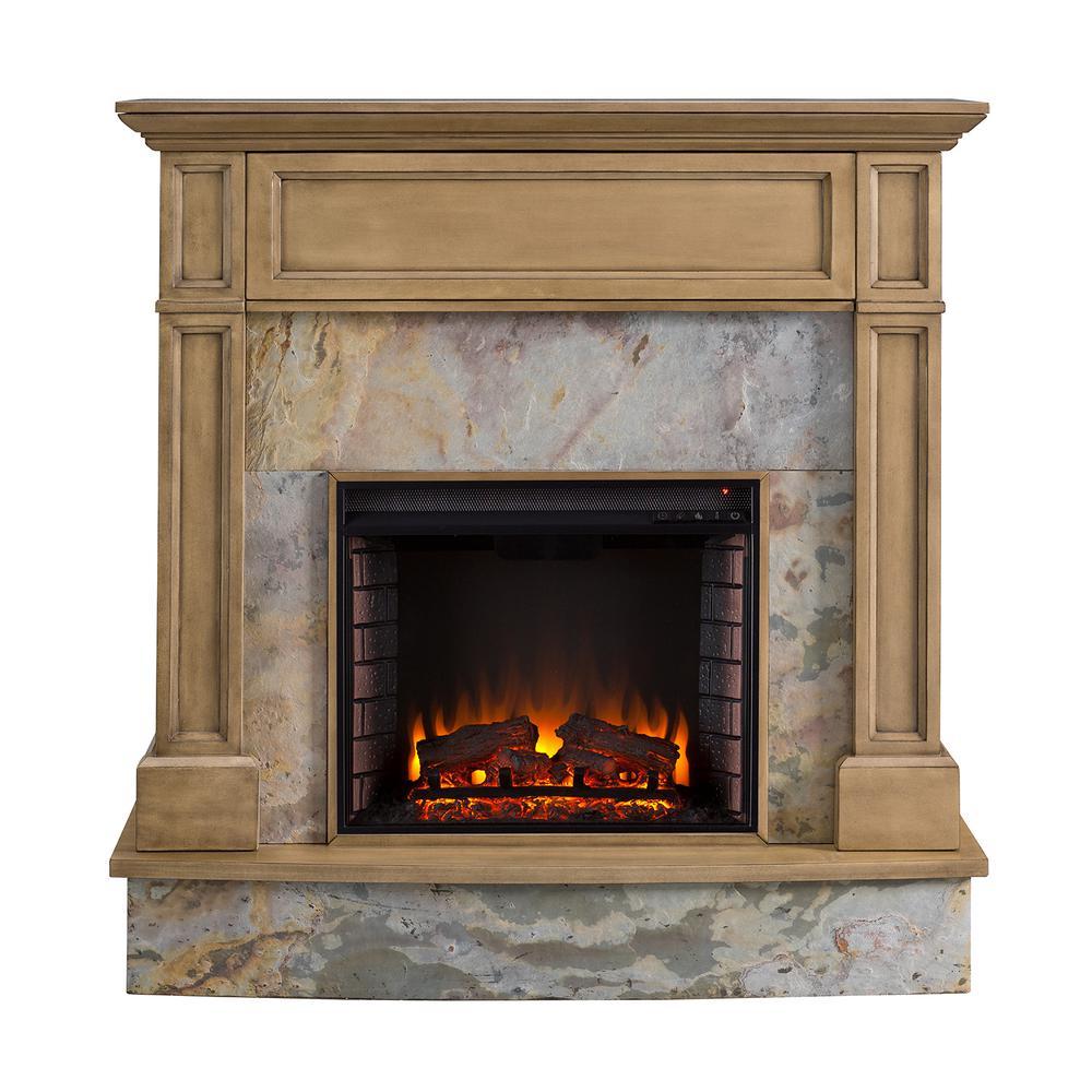 Marienne 48 in. Stone Media Electric Fireplace in Weathered Gray Oak