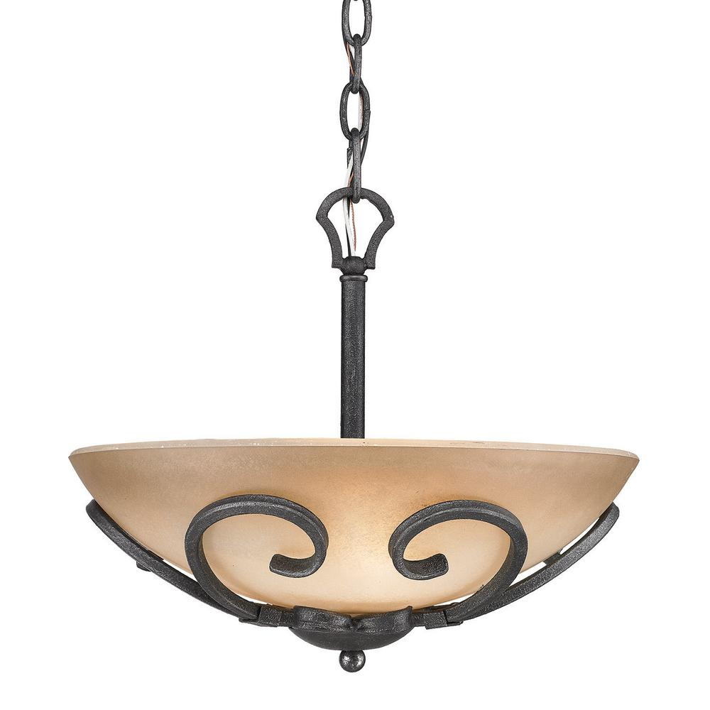 Golden Lighting Madera 3 Light Black Iron Center Bowl Pendant With Gl Shade