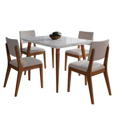 Utopia 47.24 in. and Dover 5-Piece White Gloss and Beige Dining Set