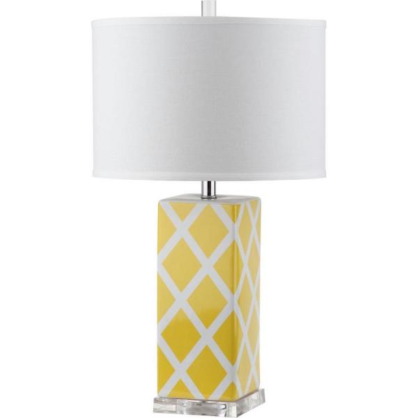 Garden 27 in. Yellow Lattice Ceramic Table Lamp with White Shade
