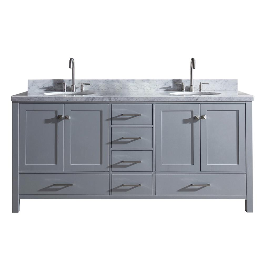 Ariel Cambridge 73 in. Bath Vanity in Gray with Marble Vanity Top in Carrara White with White Basins