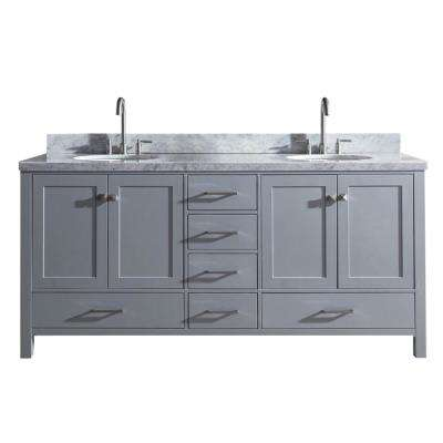 Cambridge 73 in. Bath Vanity in Gray with Marble Vanity Top in Carrara White with White Basins
