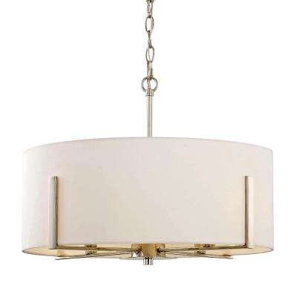 Manhattan 4-Light Polished Nickel Drum Pendant with White Fabric