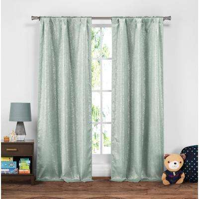 Maddie 37 in. W x 84 in. L Polyester Window Panel in Seafoam
