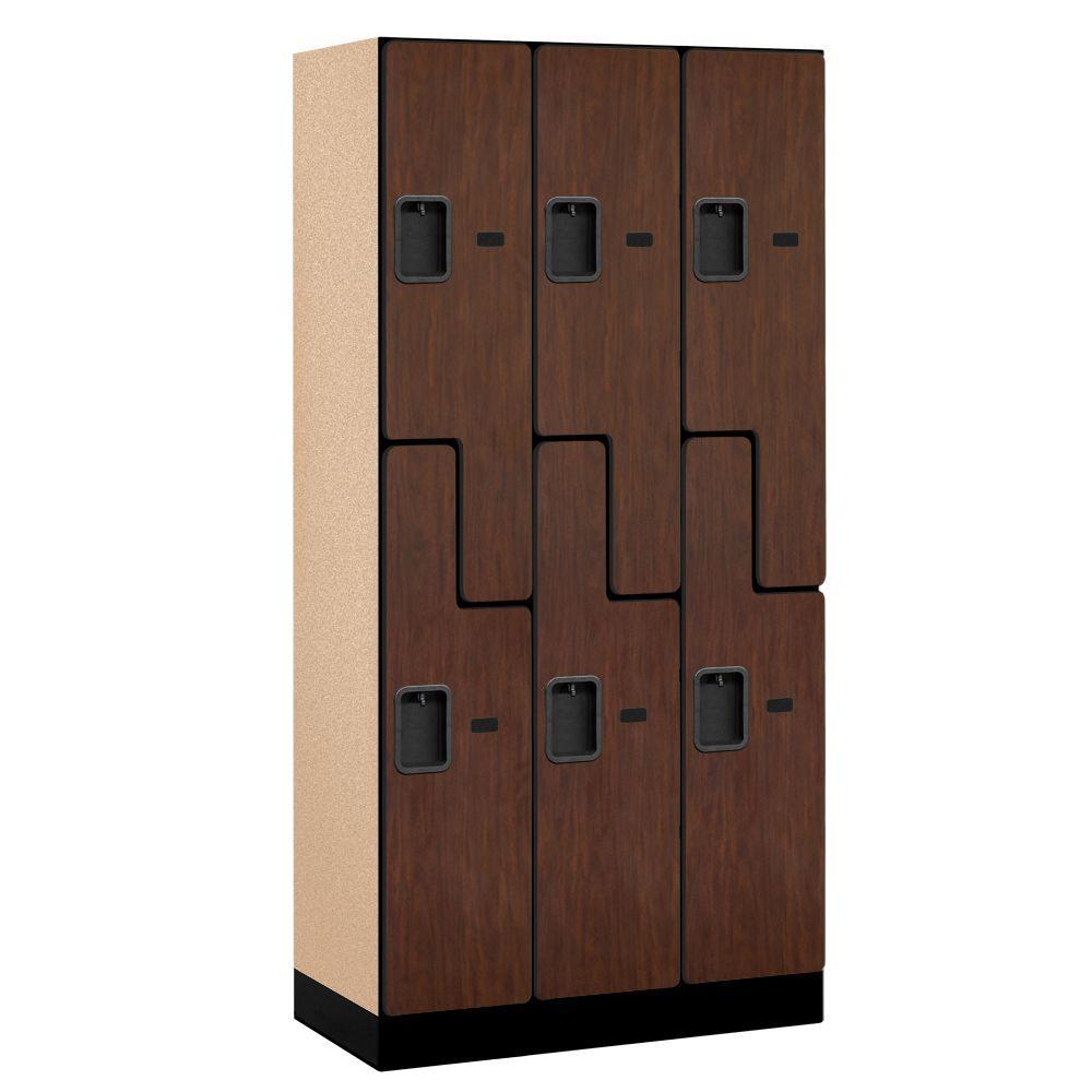 37000 Series 36 in. W x 76 in. H x 18 in. D 2-Tier S-Style Designer Wood Locker in Mahogany