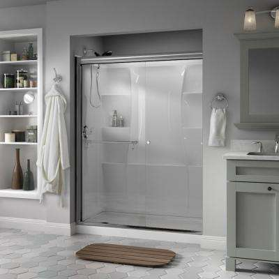 Portman 60 in. x 70 in. Semi-Frameless Traditional Sliding Shower Door in Chrome with Clear Glass
