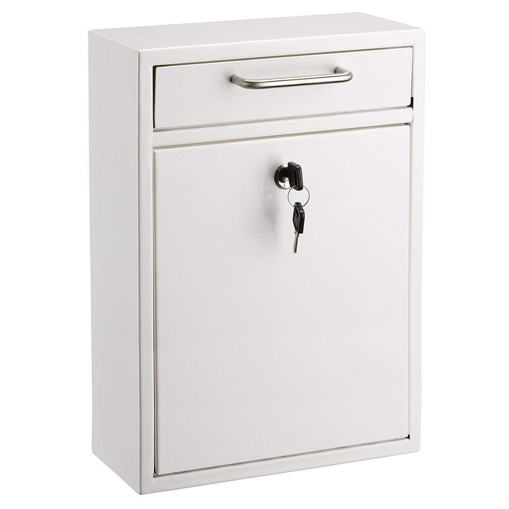 Large Ultimate White Drop Box Wall Mounted Mail Box