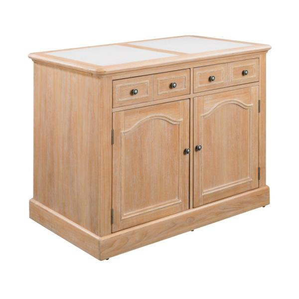 Home Styles Cambridge White Washed Natural Kitchen Island with Quartz Top
