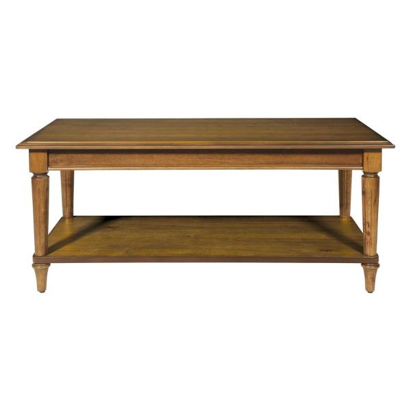 Bandon 41 in. Ginger Brown Large Rectangle Wood Coffee Table with Shelf