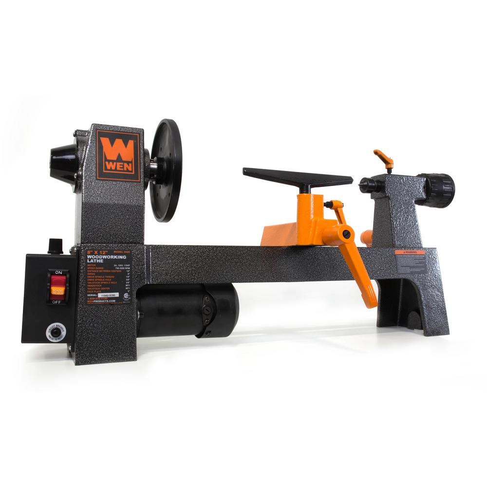 Wen 8 In  X 12 In  Variable Speed Benchtop Wood Lathe