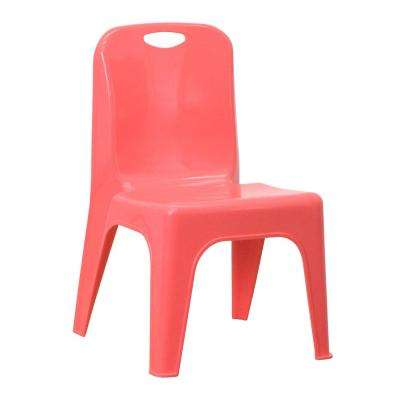 Red Plastic Stackable School Chair with Carrying Handle and 11 in. Seat Height