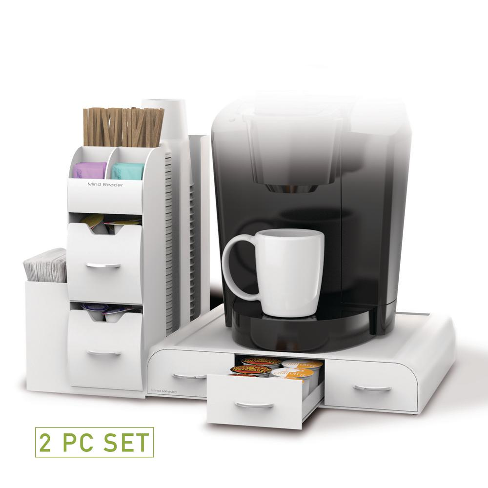 Mind Reader Pod Drawer And Condiment Caddy White Coffee