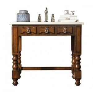 W Single Vanity In Aged Cognac With Marble Vanity Top In Galala