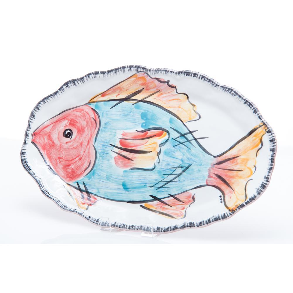 Napoli Blue Fish Ceramic Platter