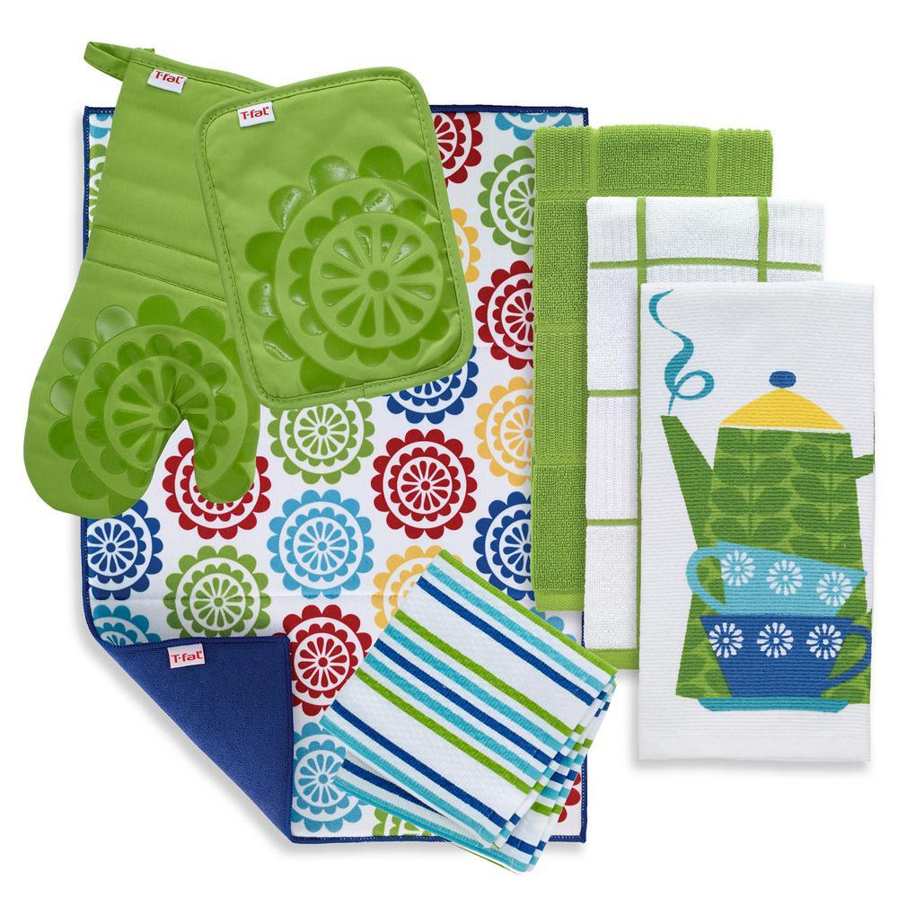 T-Fal Green Cotton Kitchen Textile Set (Set of 8)