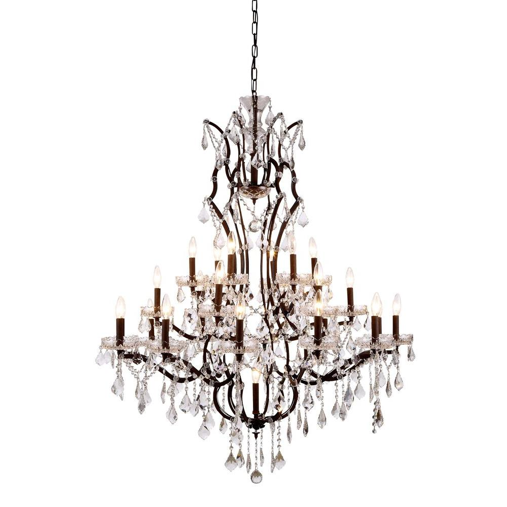 Elegant Lighting Elena 25 Light Rustic Intent Royal Cut Crystal Clear Pendant
