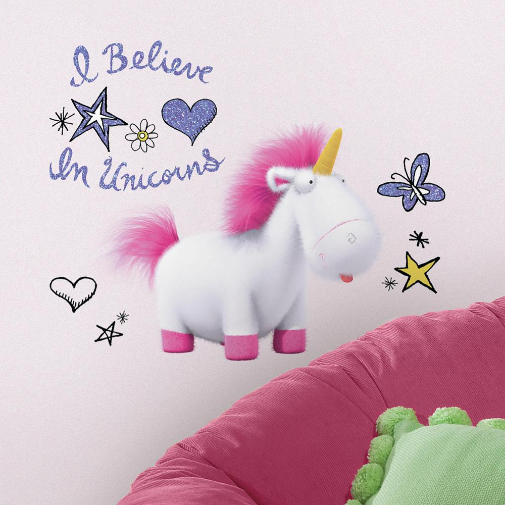 5 in. x 19 in. Despicable Me 3 I Believe In Unicorns Giant 10-Piece Peel and Stick Wall Decals