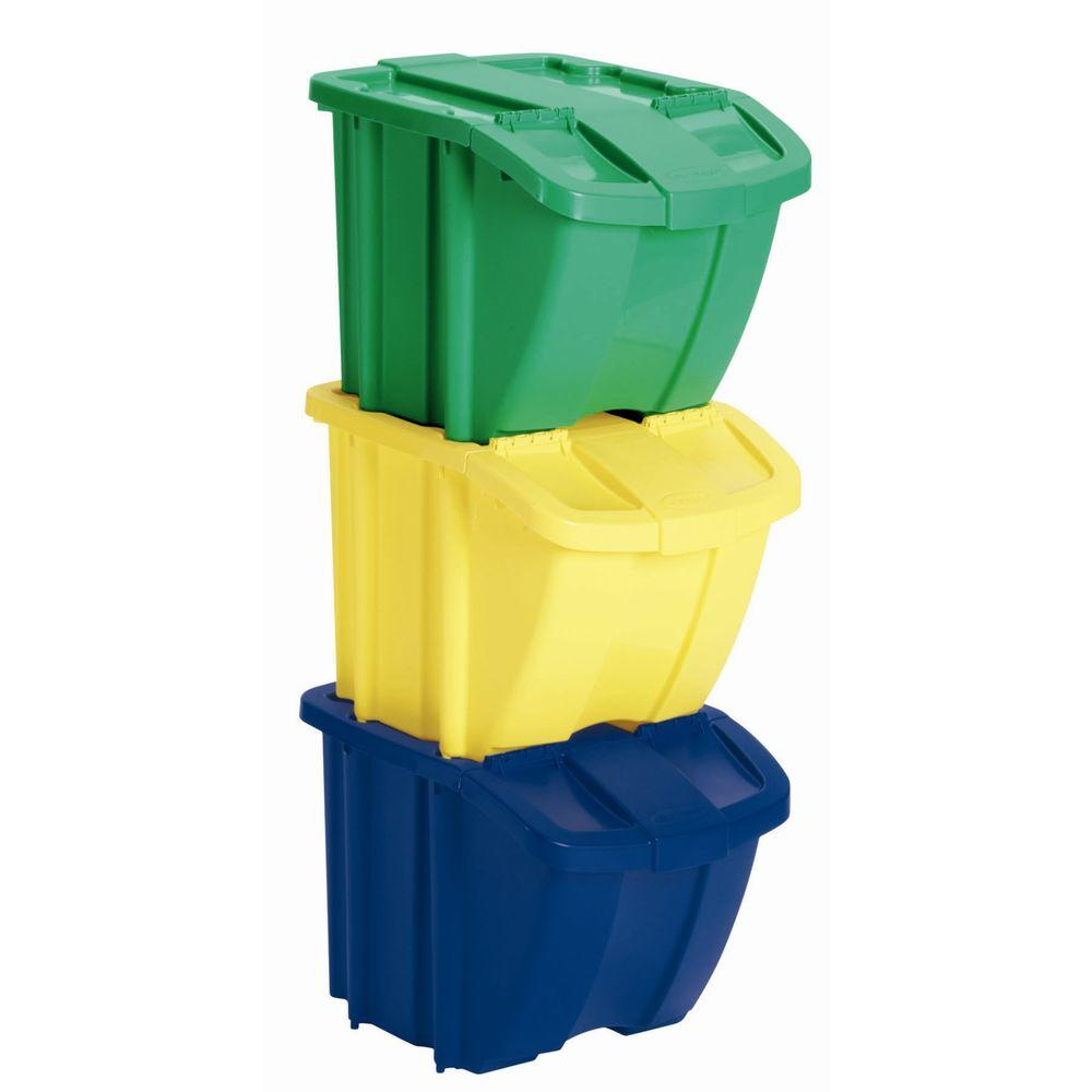 Suncast Recycle Bin Set 3 Piece BH183PK The Home Depot