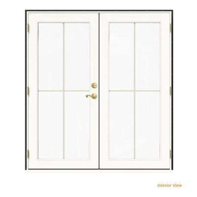 72 in. x 80 in. W-2500 Bronze Clad Wood Right-Hand 4 Lite French Patio Door w/White Paint Interior