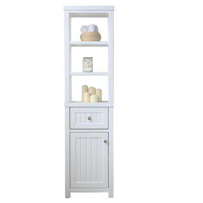 Seal Harbor 18 in. W x 12.76 in. D x 69 in. H 1-Door and 1-Drawer Tall Side Unit in White