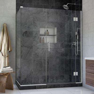 Unidoor-X 60 in. x 34-3/8 in. x 72 in. Frameless Hinged Shower Enclosure in Chrome