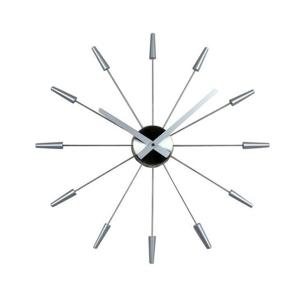 Nextime Daphne 23.60 in. Stainless Steel and Plastic Wall Clock-DISCONTINUED