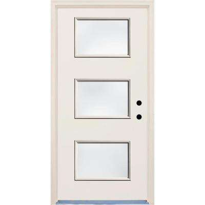 36 in. x 80 in. Left-Hand 3 Lite Clear Glass Unfinished Fiberglass Raw Prehung Front Door with Brickmould