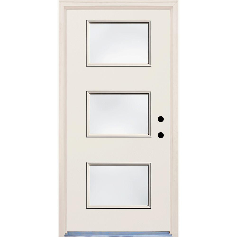 Builders Choice 36 in. x 80 in. Left-Hand 3 Lite Clear Glass Unfinished Fiberglass Raw Prehung Front Door with Brickmould