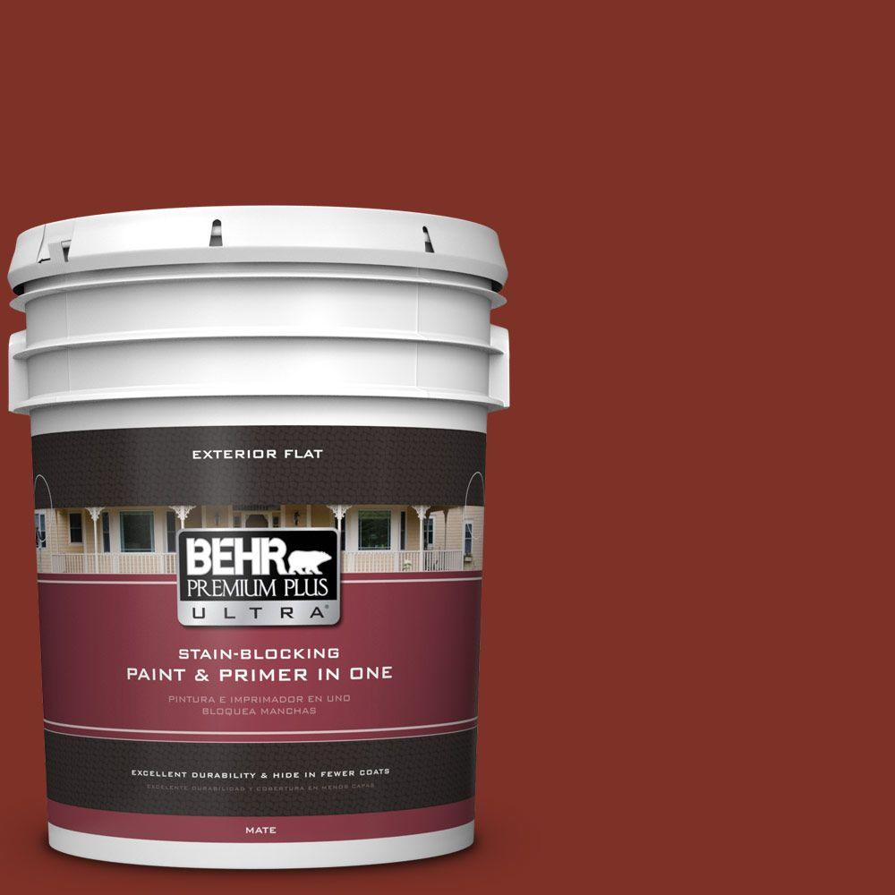 BEHR Premium Plus Ultra 5-gal. #ECC-46-3 Red Hawk Flat Exterior Paint