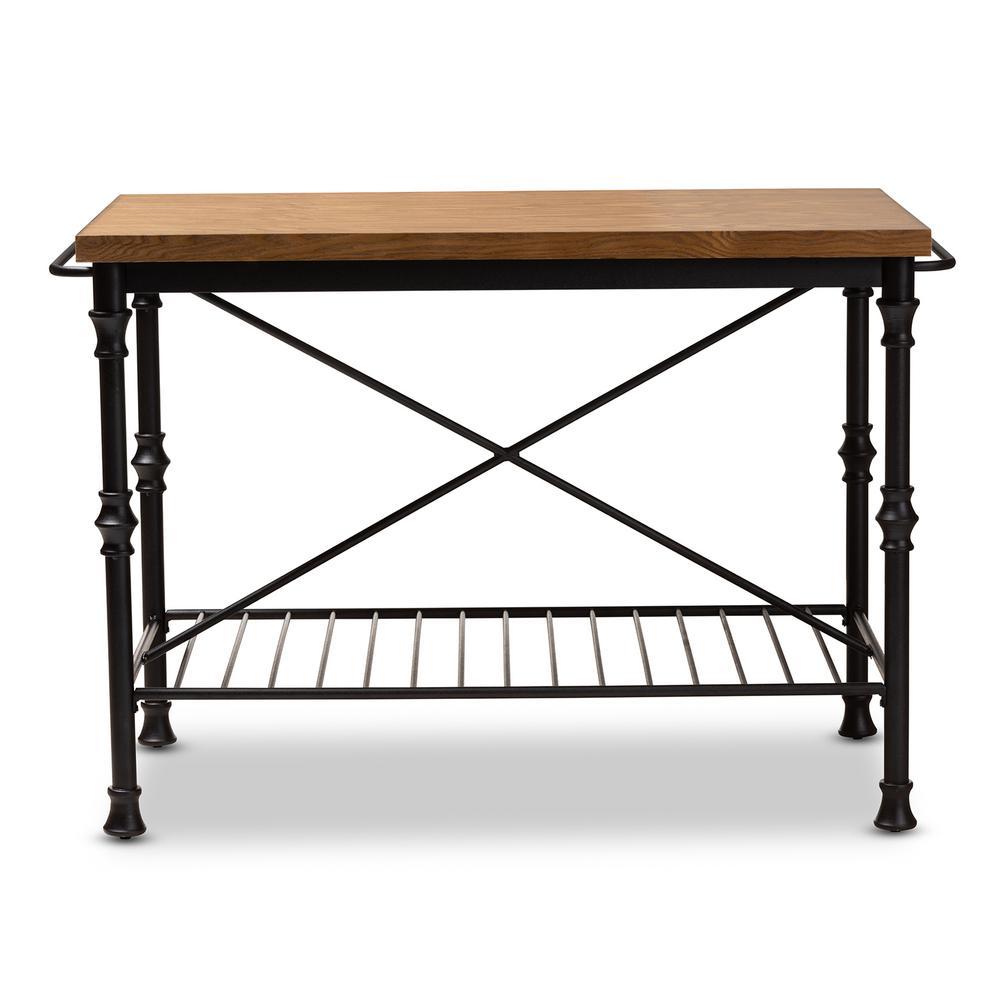 Perin Dark Oak Brown and Dark Bronze Kitchen Island Table