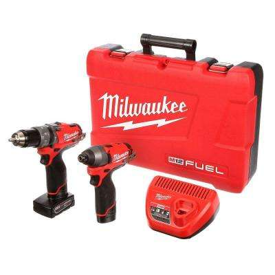 M12 FUEL 12-Volt Lithium-Ion Brushless Cordless 1/2in. Hammer Drill/Driver and Impact Combo Kit w/(2) Batteries, Charger
