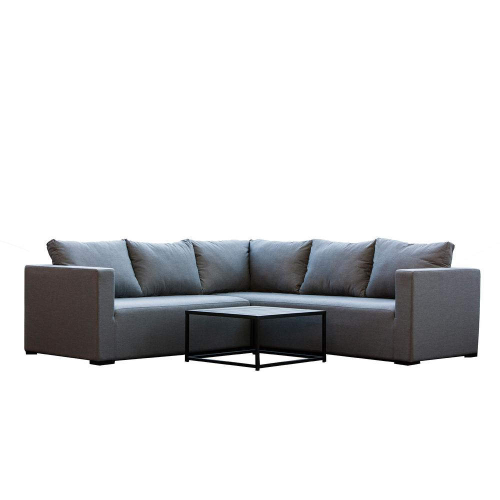 Patio Plus South Beach 3-Piece Aluminum Patio Sectional Seating Set with Grey Cushions