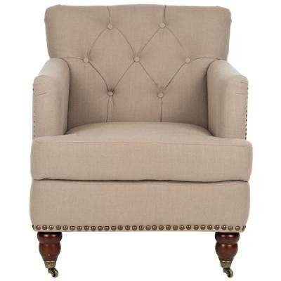 Colin True Taupe Fabric Tufted Arm Chair