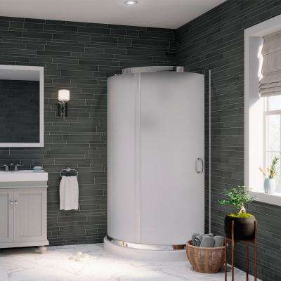 Breeze 36 in. x 36 in. x 76 in. Shower Kit with Intimacy Glass, Shower Base and Wall in White