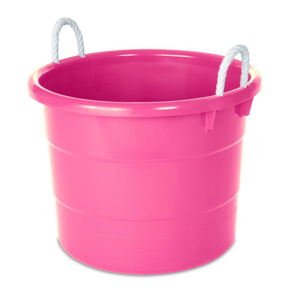 Homz 18 Gal Rope Handle Tub In Pink 4 Pack 0402kpkec04 The