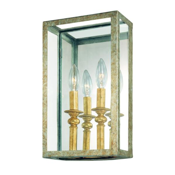 Light Gold Silver Leaf Wall Sconce