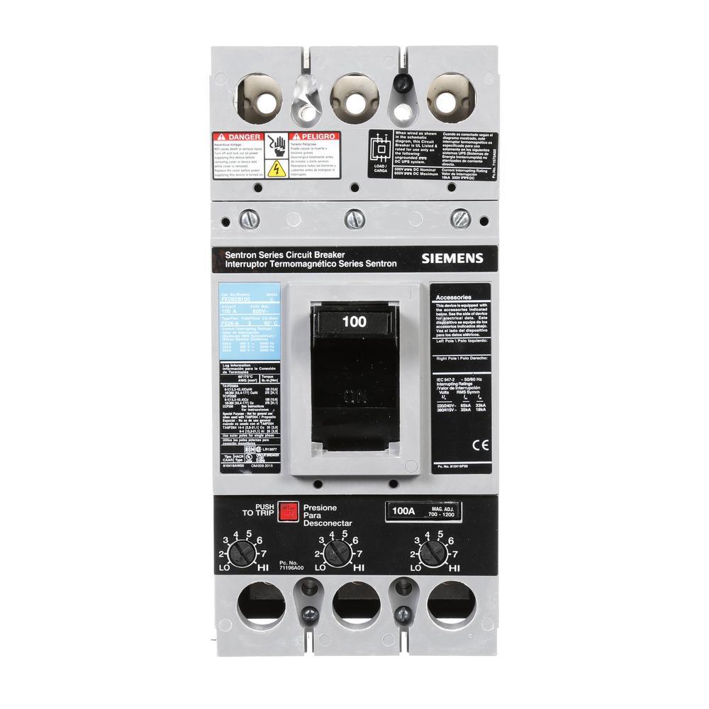 Siemens 100 Amp Type FXD6-A Triple-Pole Circuit Breaker by Siemens