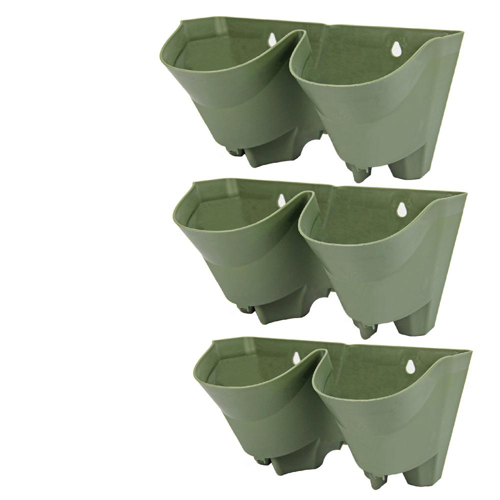Worth Garden 2-Pockets Olive Green Plastic Self-Watering Vertical Garden Wall Planters (3-Pack)