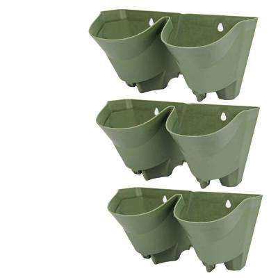 2-Pockets Olive Green Plastic Self-Watering Vertical Garden Wall Planters (3-Pack)