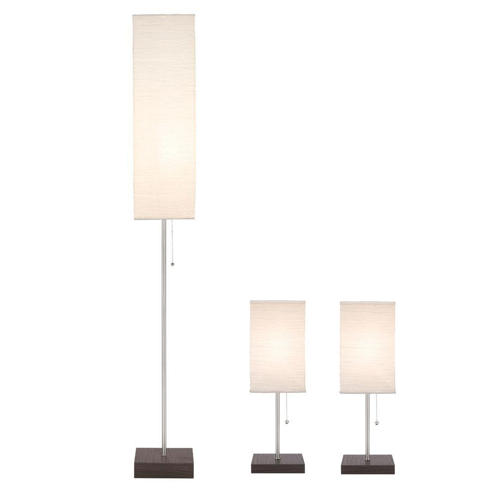 Paper Shade Combo Lamp Set With Le 20 3 Piece