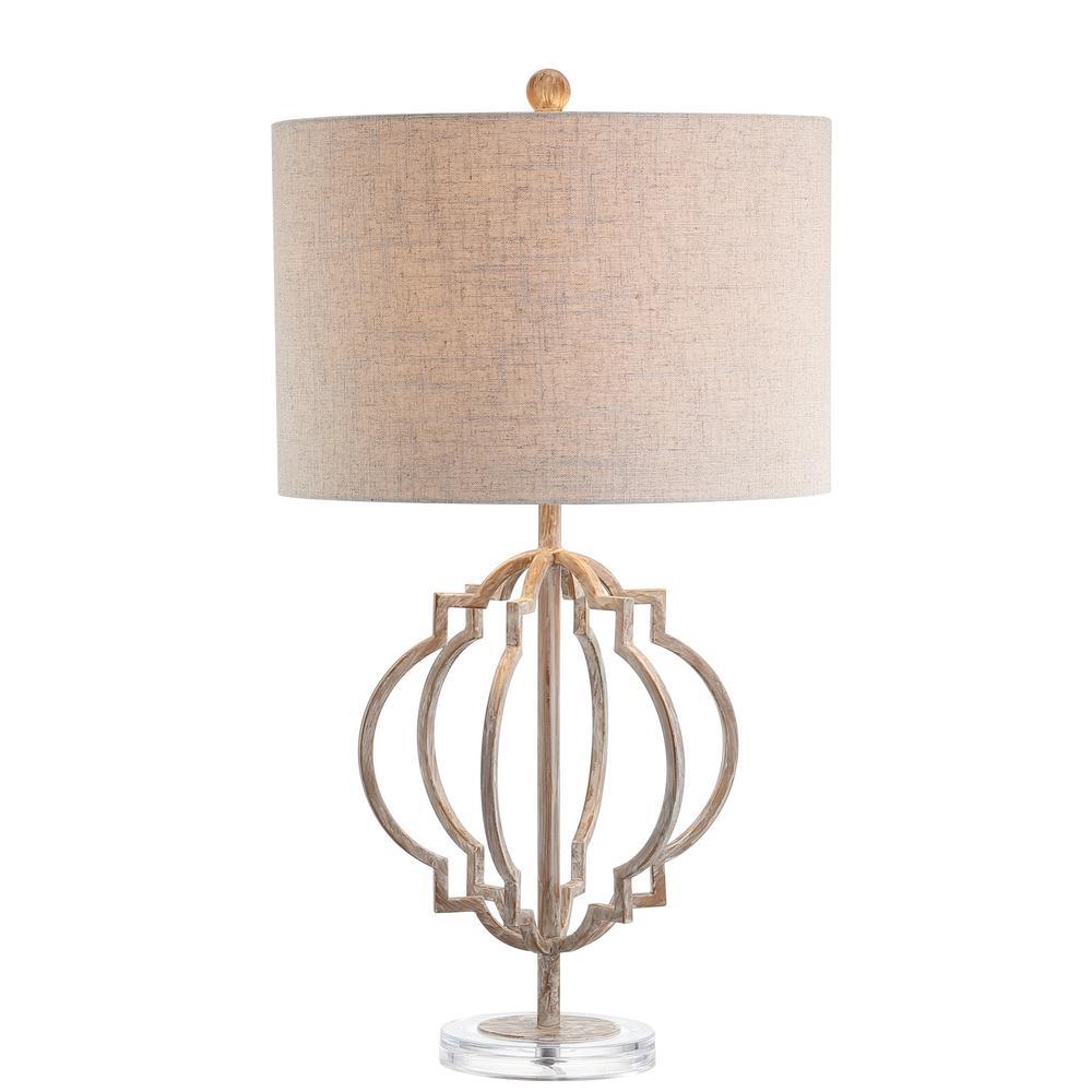 Celia 27.5 in. White Wash Metal LED Table Lamp