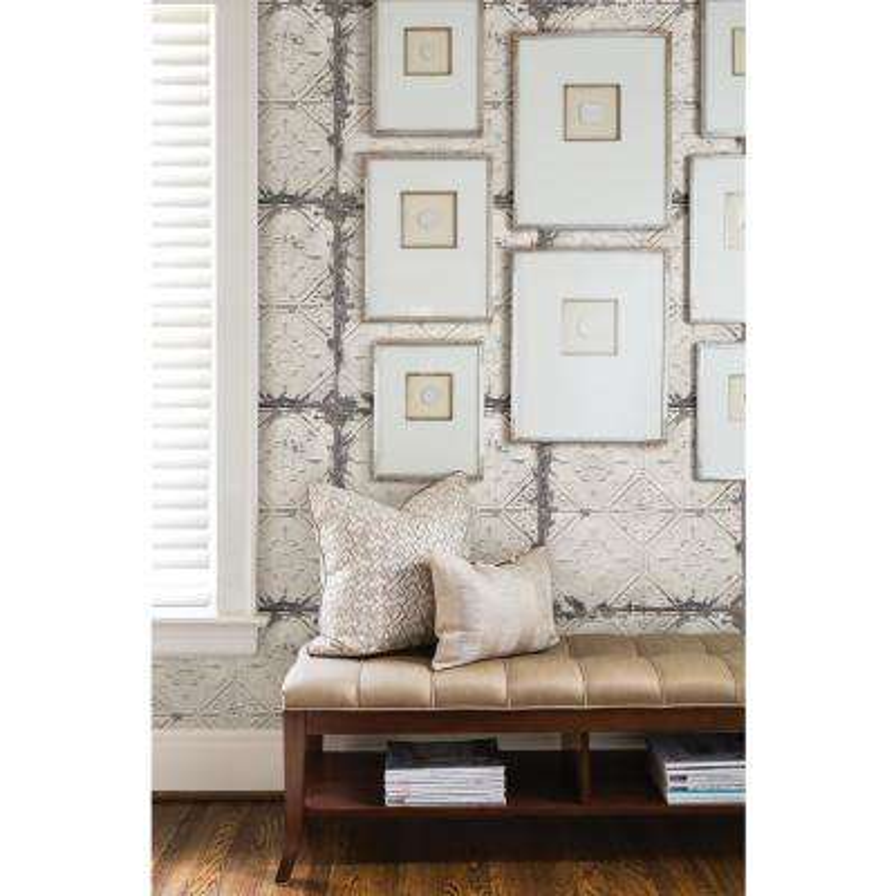 White and Off-White Vintage Tin Tile Peel and Stick Wallpaper