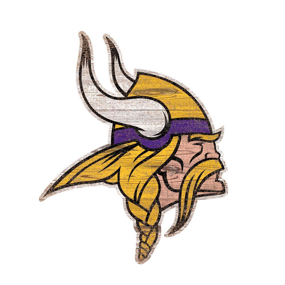 Nfl Indoor Minnesota Vikings Distressed Logo Cutout Wood Sign