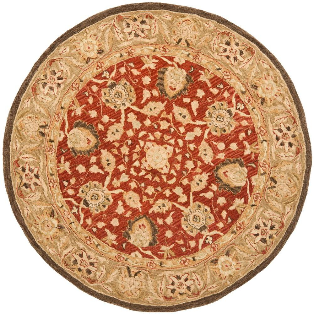 safavieh anatolia rust green 4 ft x 4 ft round area rug an512g 4r the home depot. Black Bedroom Furniture Sets. Home Design Ideas