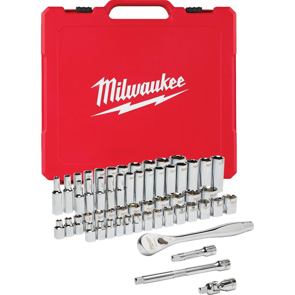 Milwaukee 3/8 in. Drive SAE/Metric Ratchet and Socket Mechanics Tool Set (56-Piece)