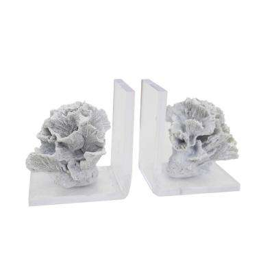 6 in. White Polyresin Coral Bookends (Set of 2)