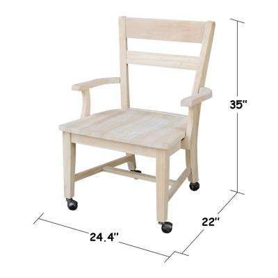 Unfinished Wood Mobile Dining Chair